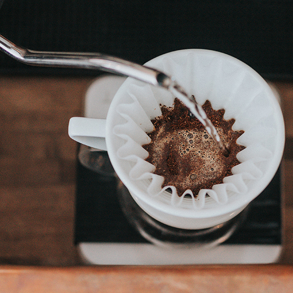 Pour-over drip coffee brewing step1