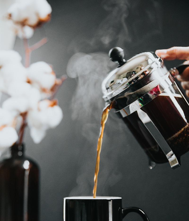 Pouring a cup of French Press Coffee